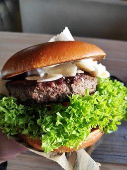 Burger, Salad, Green, Beef, Cheese