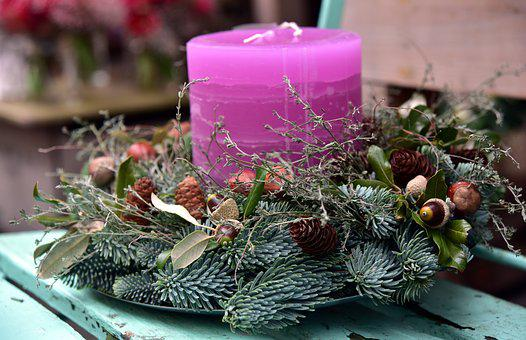 Candle, Christmas, Arrangement, Branches, Holly