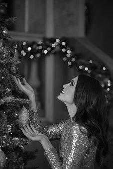 Girl, Christmas Tree, Christmas, Holiday, Model, Woman