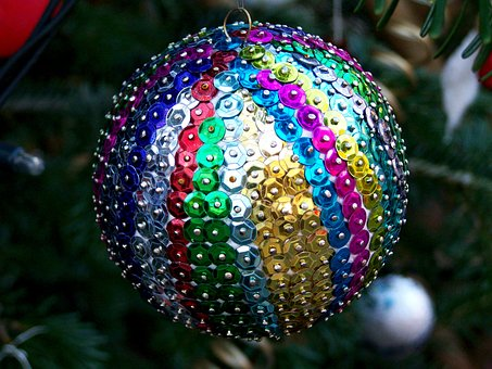 Colorful Sphere, Christmas Tree Ornament, Holiday