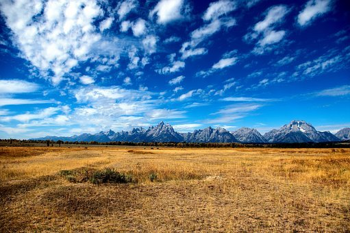 Big Sky Over The Tetons, Sky, Mountains, Clouds, Grand