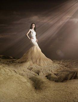 Woman, Female, Mountain, Surreal, Bride, Wedding Dress