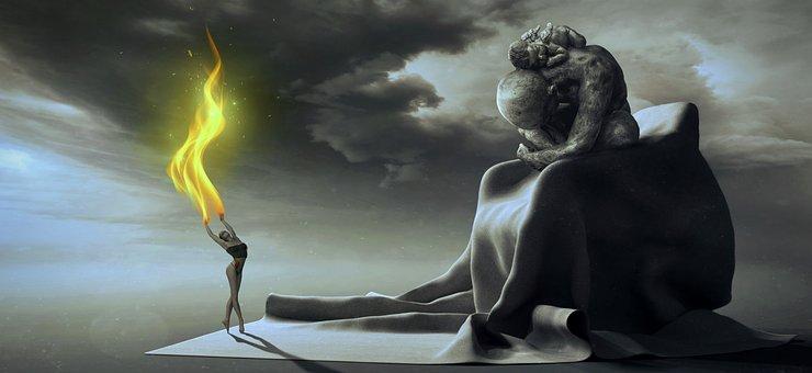 Fantasy, Dancer, Chair, Figure, Flame, Fire, Emotion