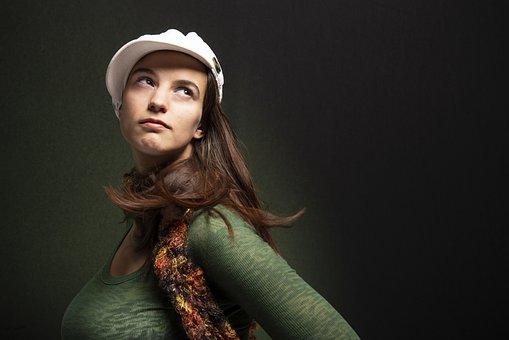 Hair Flip, Portrait, Green, Girl, Eyes, Woman, Model