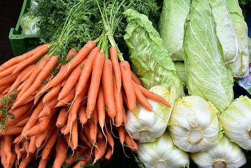Vegetables, Carrots, Kohl, Market, Healthy, Raw Food