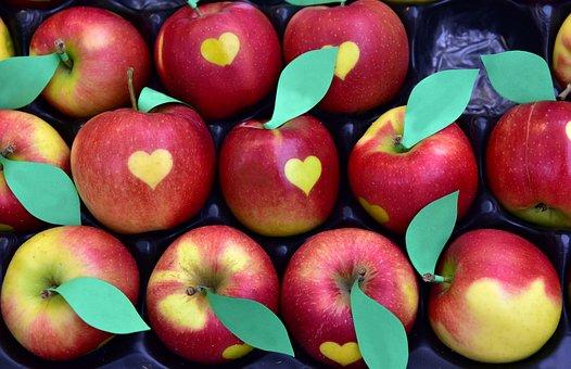 Apple, Heart, Heart Apples, Delicious, Eat, Sweet, Luck