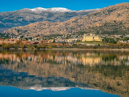 People, Landscape, Lake, Mountains, Manzanares, Pedriza