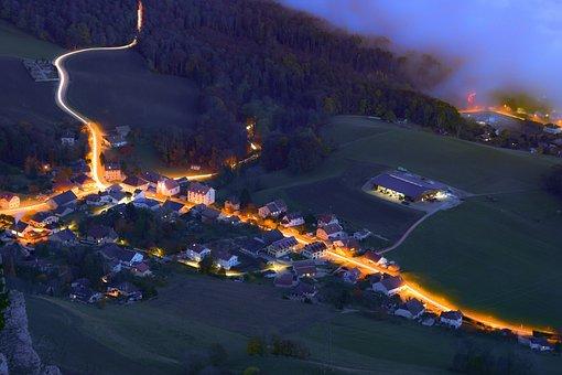 Village, Twilight, Forest, Mist, Long Exposure
