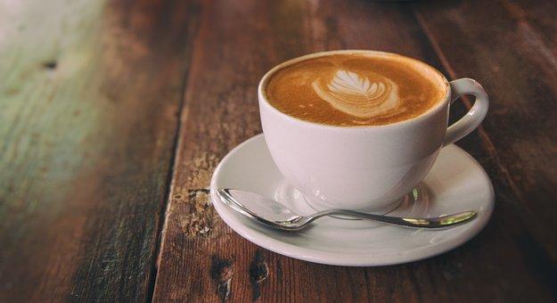 Coffee, Cup, Mug, Spoon, Wood, Rustic, Cappuccino