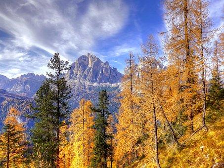 Autumn, Dolomites, Nature, Landscape, Mountains, Italy