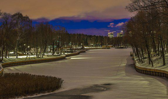 Landscape, Nature, Evening, Lake, Snow