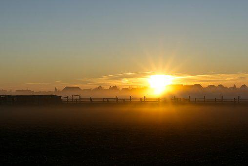 Sunrise, Fog, Autumn, Cool, Mood, Landscape, Nature