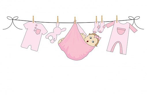 Baby, Girl, Pink, Clothes, Washing, Laundry, Dangling