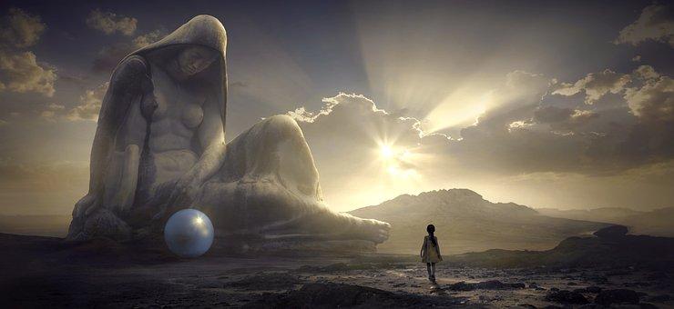 Fantasy, Sculpture, Child, Girl, Light, Sun, Ball