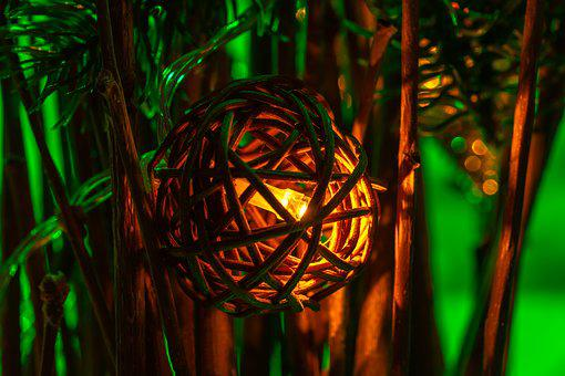 Christmas, Light, Ball, Straw, Decoration, Shining