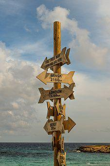 Signposts, Signs, Distance From, Sea, Sky, Clouds