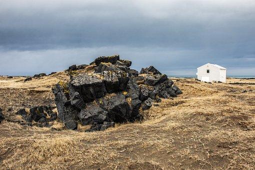 Hellissandur, Iceland, Winter, Snow, Landscape, Stones