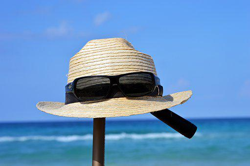 Hat, Sunglasses, Vacations, Summer, Straw Hat