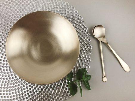 Bronze, Pasta Bowl, Tableware, Spoon, Gold, Simple