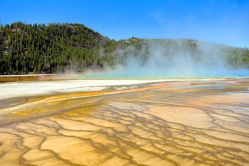Grand Prismatic Bacterial Mat, Thermal, Spring, Grand