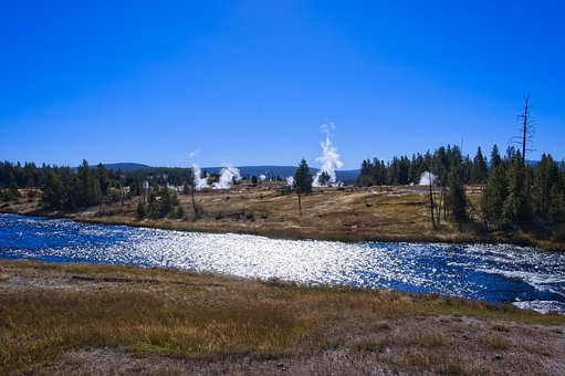 Firehole At Midway Geyser Basin, Thermal, Vapor, Sky
