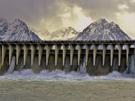 Dam, Water Flow, Mountains, River, Wyoming, Hiking