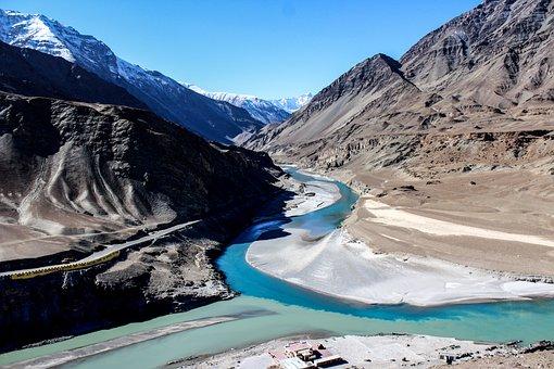 Zanskar River, Indus River, Mountains, Sangam, Blue