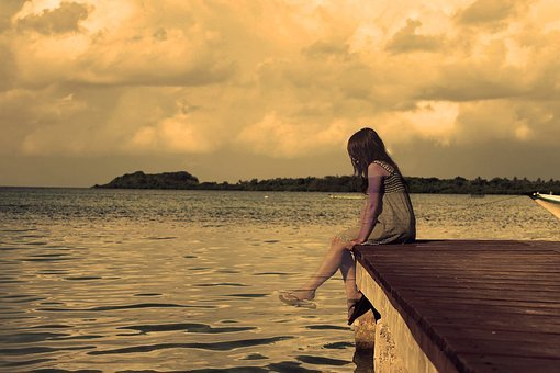 Lonely, Girl, Lake, Sepia, Alone, Dock, Landscape, Sad