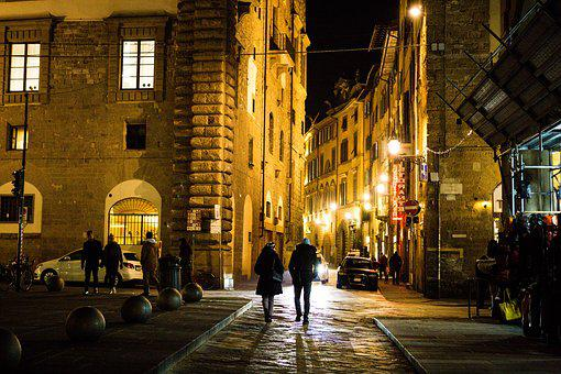 Florence, Evening, Italy, Yard, Night, Architecture