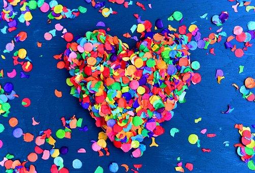 Confetti, Heart, Colorful, Birthday, Decorative, Love
