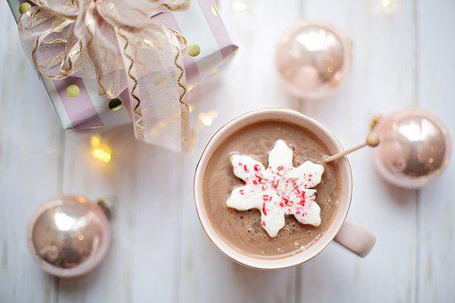Pink, Christmas, Hot Chocolate, Cozy, Flat Lay, Present
