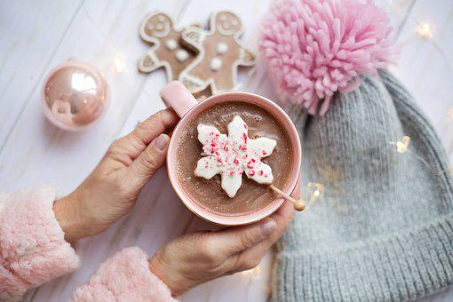 Pink, Christmas, Hot Chocolate, Cozy, Flat Lay