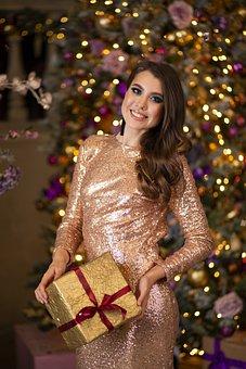 Girl, Gift, Joy, Smile, Emotions, Lights, Hair, Dress