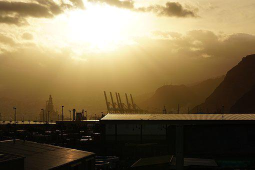 Sun, Smog, Industry, Port, Clouds, Environment