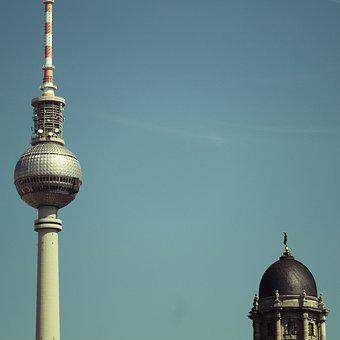 Berlin, Tvtower, Fernsehturm, Sky, Tv-tower, Tower