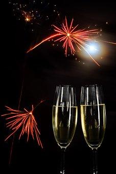 Champagne, Glasses, Fireworks, Prost, Sylvester