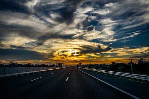 Highway, Sky, Cloud, Sunset, Evening, Travel