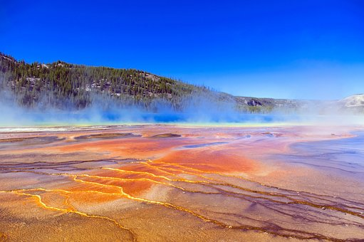 Colorful Grand Prismatic Spring, Hot, Spring, Minerals