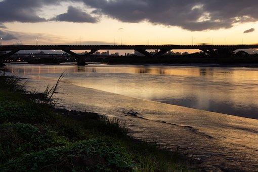 Sunset, Water, Sky, Bridge, Sea, Lake, River, Landscape