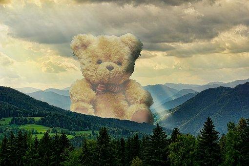 Teddy, Bear, Giant, Distant, Mist, Atmosphere, Hills