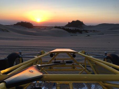 Oregon Sand Dunes At Sunset, Sand Rail, Dunes, Sunset