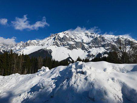 Snow, Winter, Mountains, Sky, Ramsau, Nature, Landscape