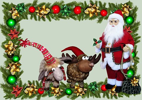 Christmas, Santa, Reindeer, Decoration, Greeting