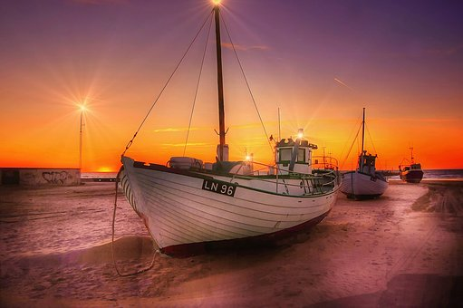 Boats, Sunset, Sea, Sky, Water, Ocean, Rest, Nature