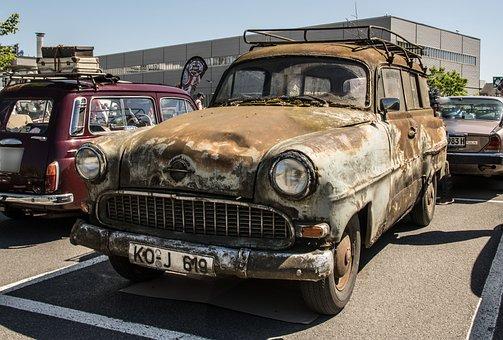 Opel, Caravan, Oldtimer, Vehicles, Classic, Rusted, Old