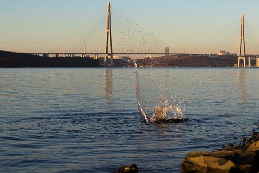 Spray, Bridge, Golden Bridge, Island Russian, Sea