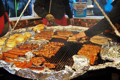 Grill, Hot, Sausages, Christmas, Markets, Stand, Skewer