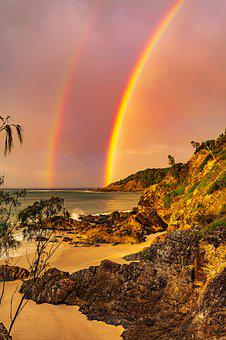Rainbow, Sunset, Landscape, Sky, Water, Colorful