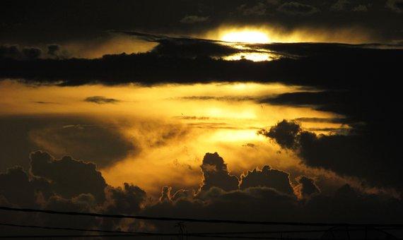 Sky, Sol, Red, Clouds, Sun, Summer