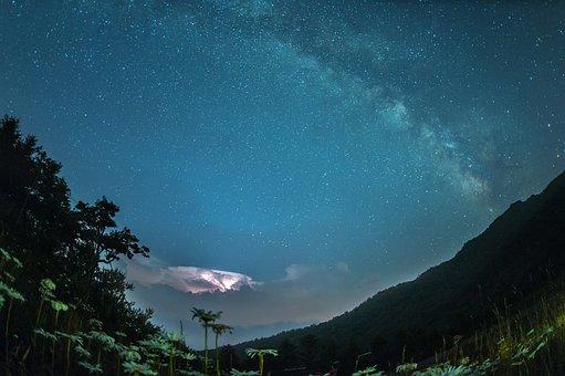 The Night Sky, Lightning, The Milky Way, Flowers